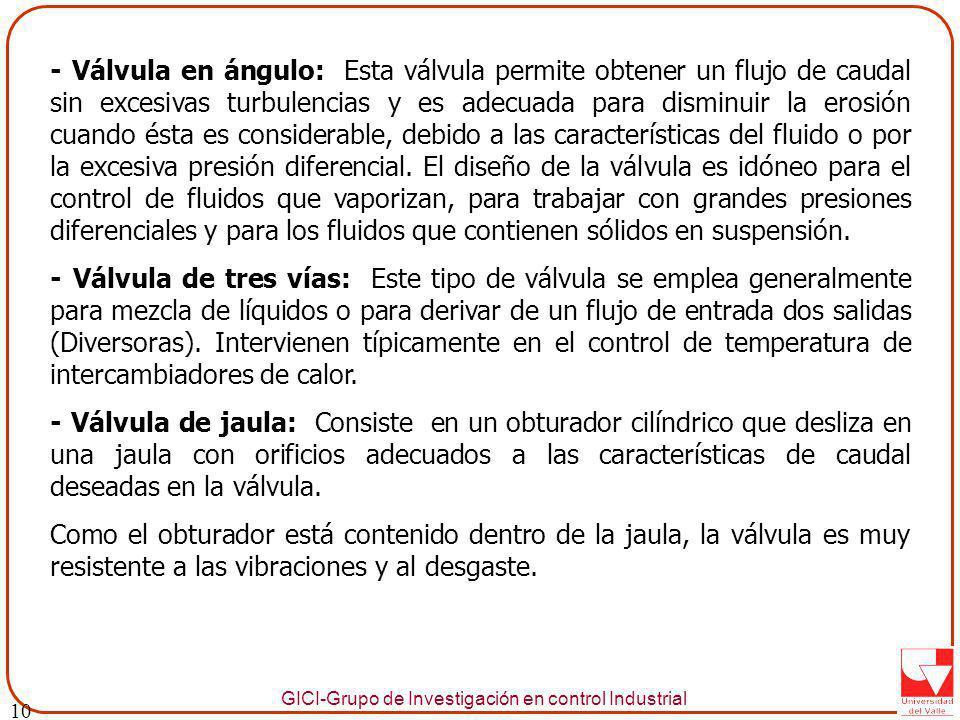 GICI-Grupo de Investigación en control Industrial - Válvula en ángulo: Esta válvula permite obtener un flujo de caudal sin excesivas turbulencias y es adecuada para disminuir la erosión cuando ésta es considerable, debido a las características del fluido o por la excesiva presión diferencial.