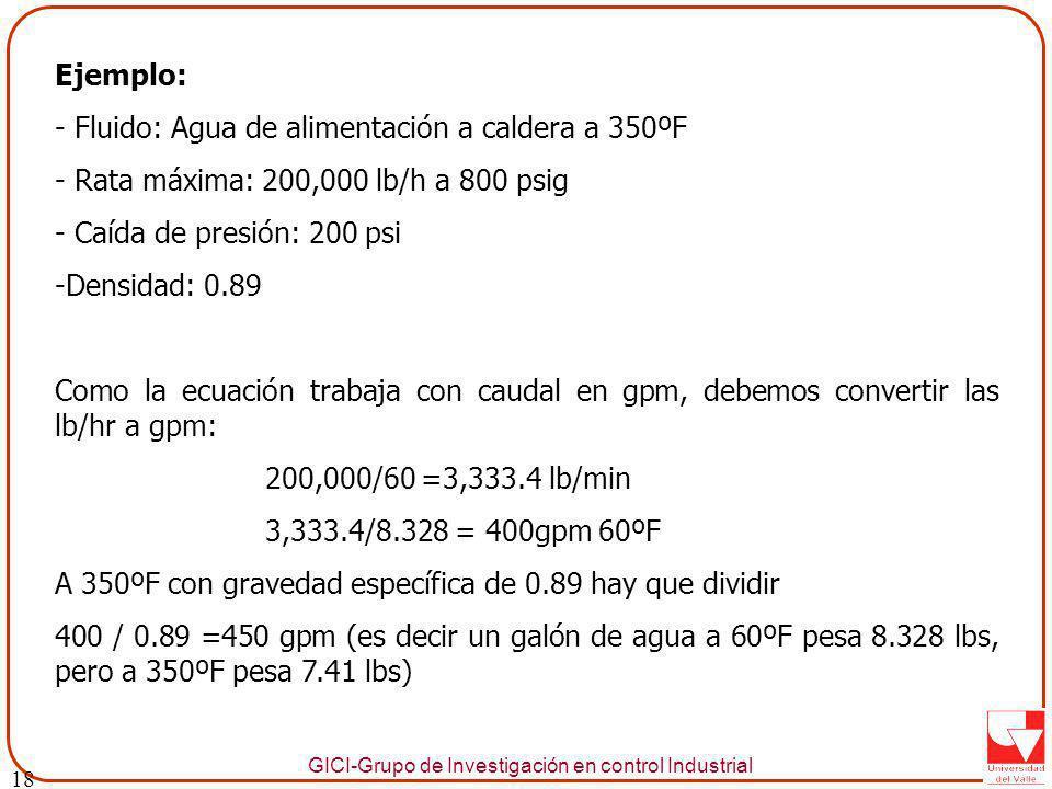 GICI-Grupo de Investigación en control Industrial Ejemplo: - Fluido: Agua de alimentación a caldera a 350ºF - Rata máxima: 200,000 lb/h a 800 psig - Caída de presión: 200 psi -Densidad: 0.89 Como la ecuación trabaja con caudal en gpm, debemos convertir las lb/hr a gpm: 200,000/60 =3,333.4 lb/min 3,333.4/8.328 = 400gpm 60ºF A 350ºF con gravedad específica de 0.89 hay que dividir 400 / 0.89 =450 gpm (es decir un galón de agua a 60ºF pesa 8.328 lbs, pero a 350ºF pesa 7.41 lbs) 18