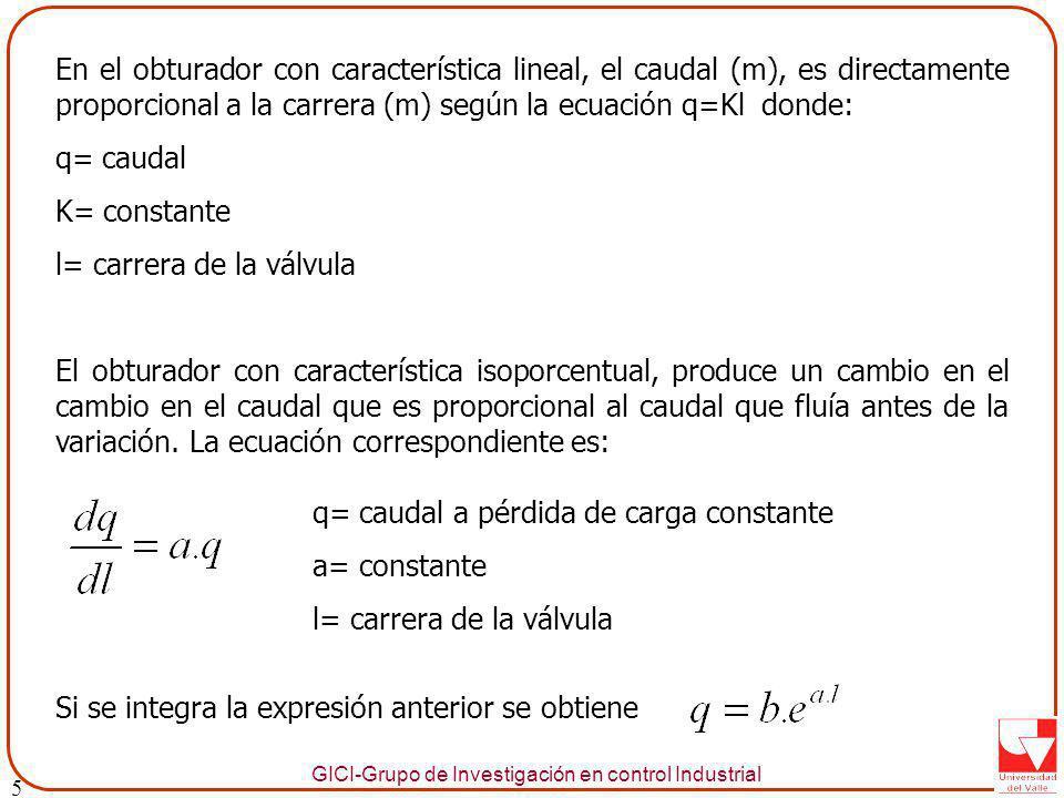 GICI-Grupo de Investigación en control Industrial En el obturador con característica lineal, el caudal (m), es directamente proporcional a la carrera (m) según la ecuación q=Kl donde: q= caudal K= constante l= carrera de la válvula El obturador con característica isoporcentual, produce un cambio en el cambio en el caudal que es proporcional al caudal que fluía antes de la variación.