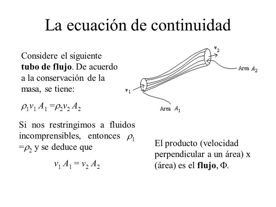 La ecuación de continuidad Considere el siguiente tubo de flujo. De acuerdo a la conservación de la masa, se tiene: 1 v 1 A 1 = 2 v 2 A 2 Si nos restr