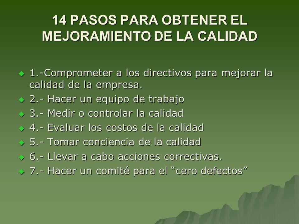14 PASOS PARA OBTENER EL MEJORAMIENTO DE LA CALIDAD 1.-Comprometer a los directivos para mejorar la calidad de la empresa. 1.-Comprometer a los direct