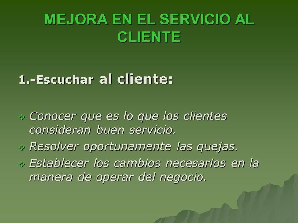 MEJORA EN EL SERVICIO AL CLIENTE 1.-Escuchar al cliente: Conocer que es lo que los clientes consideran buen servicio. Conocer que es lo que los client