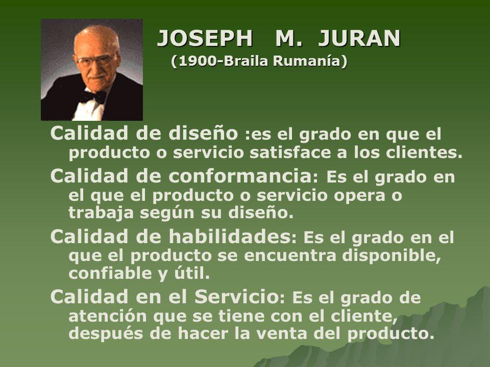 JOSEPH M. JURAN JOSEPH M. JURAN (1900-Braila Rumanía) Calidad de diseño :es el grado en que el producto o servicio satisface a los clientes. Calidad d