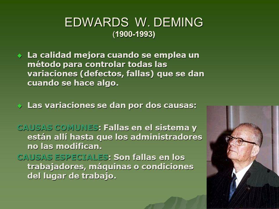 EDWARDS W. DEMING (1900-1993) La calidad mejora cuando se emplea un método para controlar todas las variaciones (defectos, fallas) que se dan cuando s