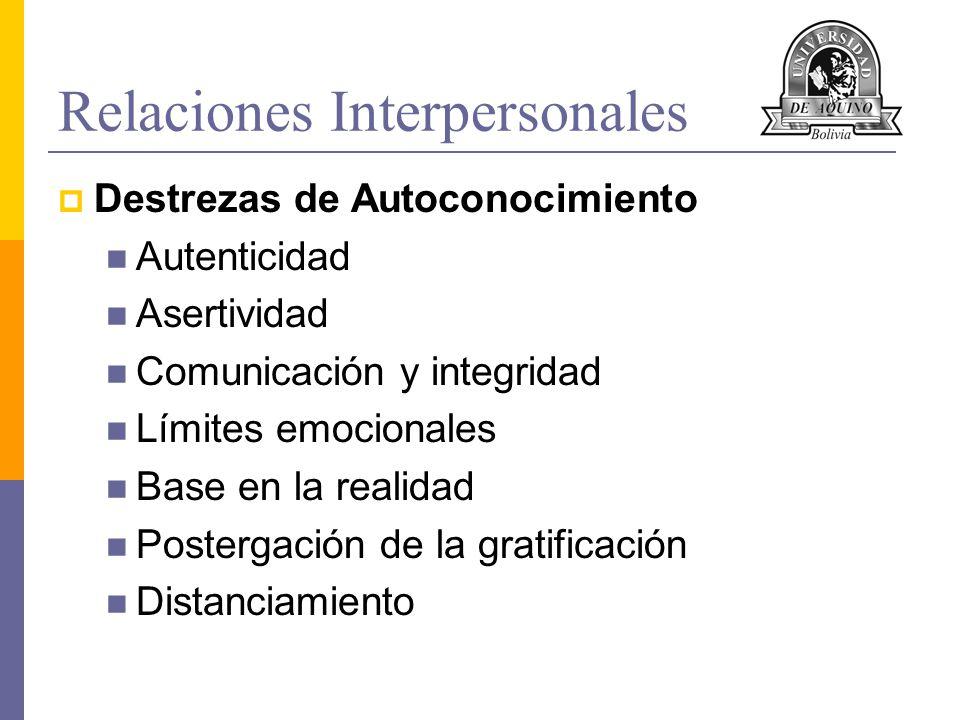 Relaciones Interpersonales Destrezas de Autoconocimiento Autenticidad Asertividad Comunicación y integridad Límites emocionales Base en la realidad Po