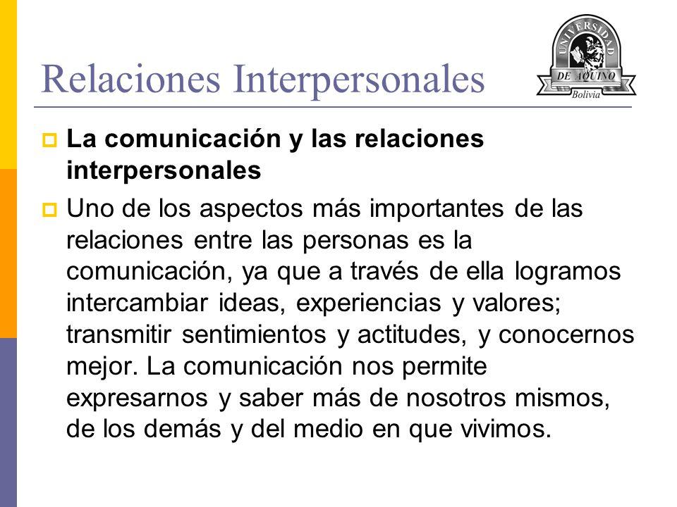 Relaciones Interpersonales La comunicación y las relaciones interpersonales Uno de los aspectos más importantes de las relaciones entre las personas e