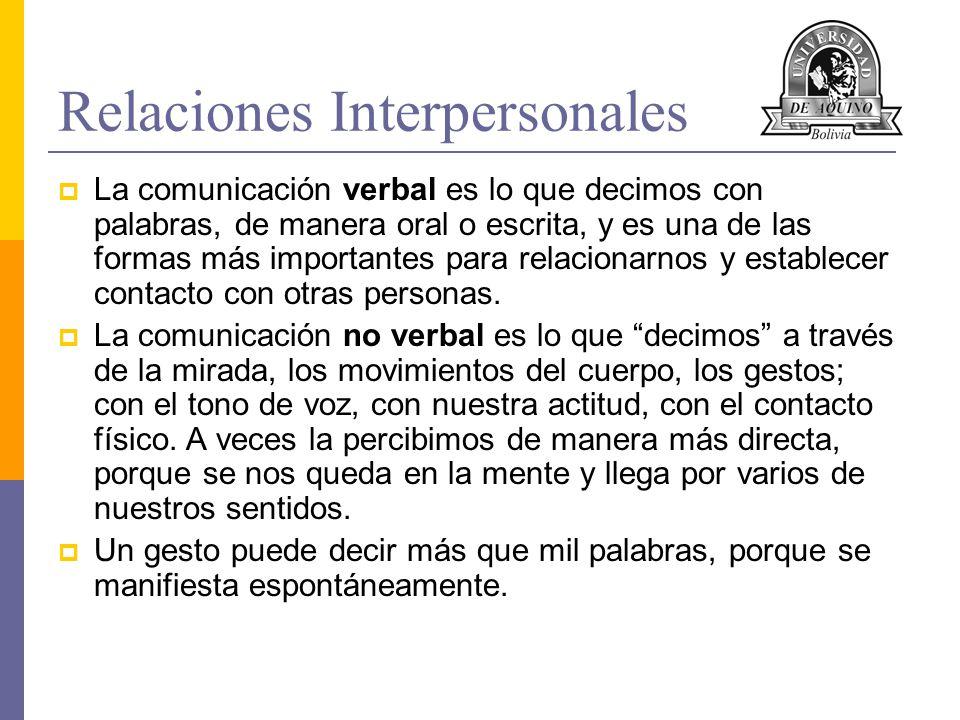 Relaciones Interpersonales La comunicación verbal es lo que decimos con palabras, de manera oral o escrita, y es una de las formas más importantes par