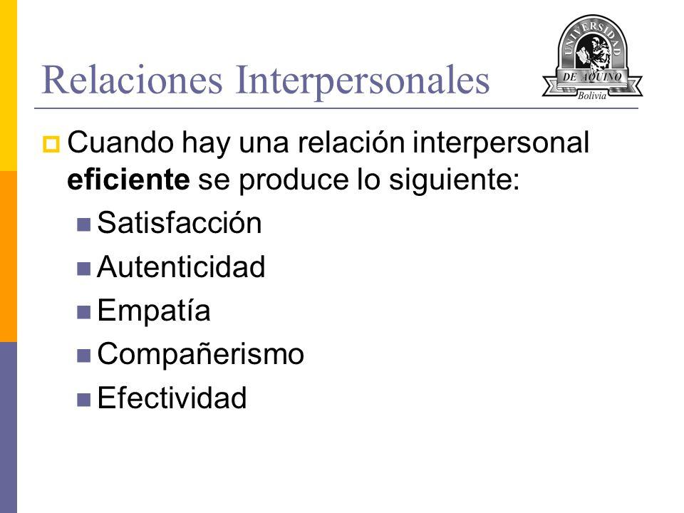 Relaciones Interpersonales Cuando hay una relación interpersonal eficiente se produce lo siguiente: Satisfacción Autenticidad Empatía Compañerismo Efe