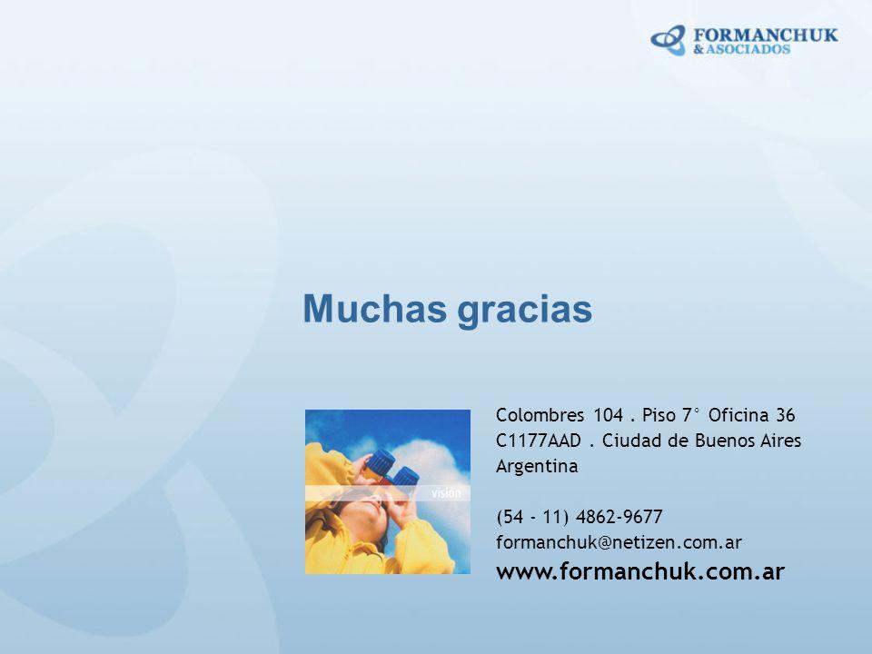 Muchas gracias Colombres 104. Piso 7° Oficina 36 C1177AAD. Ciudad de Buenos Aires Argentina (54 - 11) 4862-9677 formanchuk@netizen.com.ar www.formanch