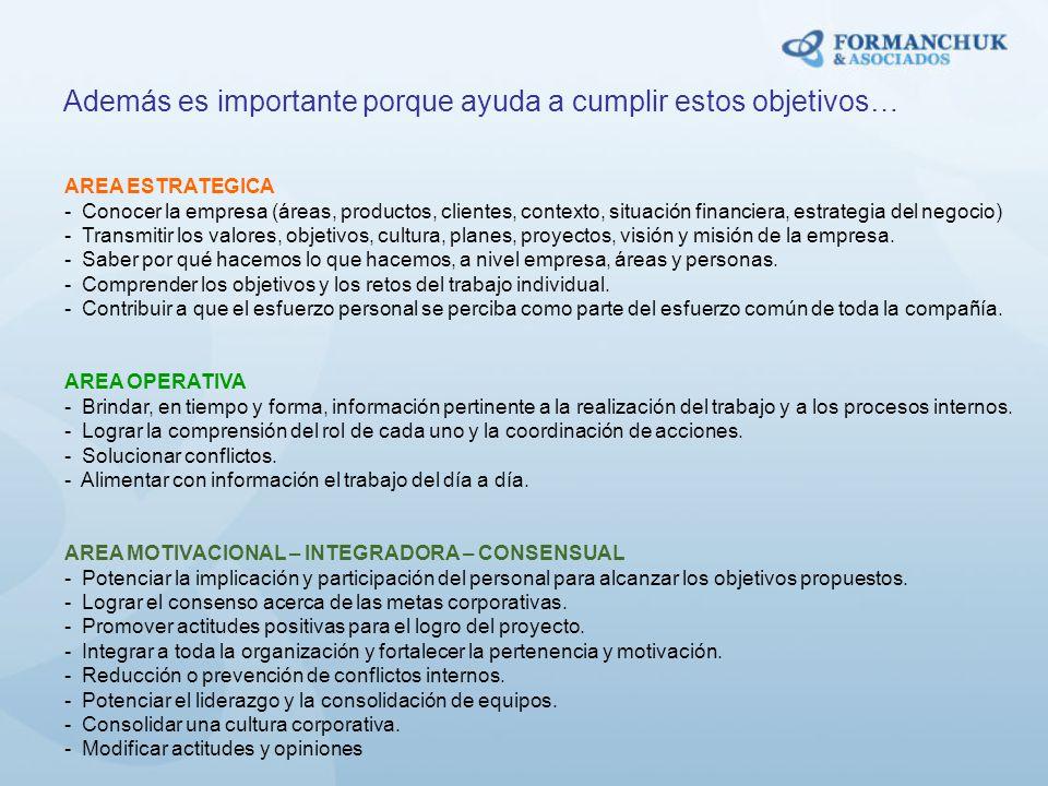 AREA ESTRATEGICA - Conocer la empresa (áreas, productos, clientes, contexto, situación financiera, estrategia del negocio) - Transmitir los valores, o