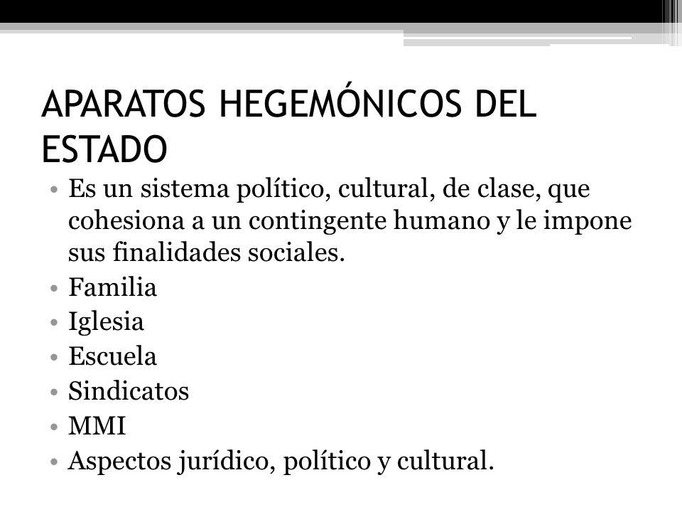 APARATOS HEGEMÓNICOS DEL ESTADO Es un sistema político, cultural, de clase, que cohesiona a un contingente humano y le impone sus finalidades sociales
