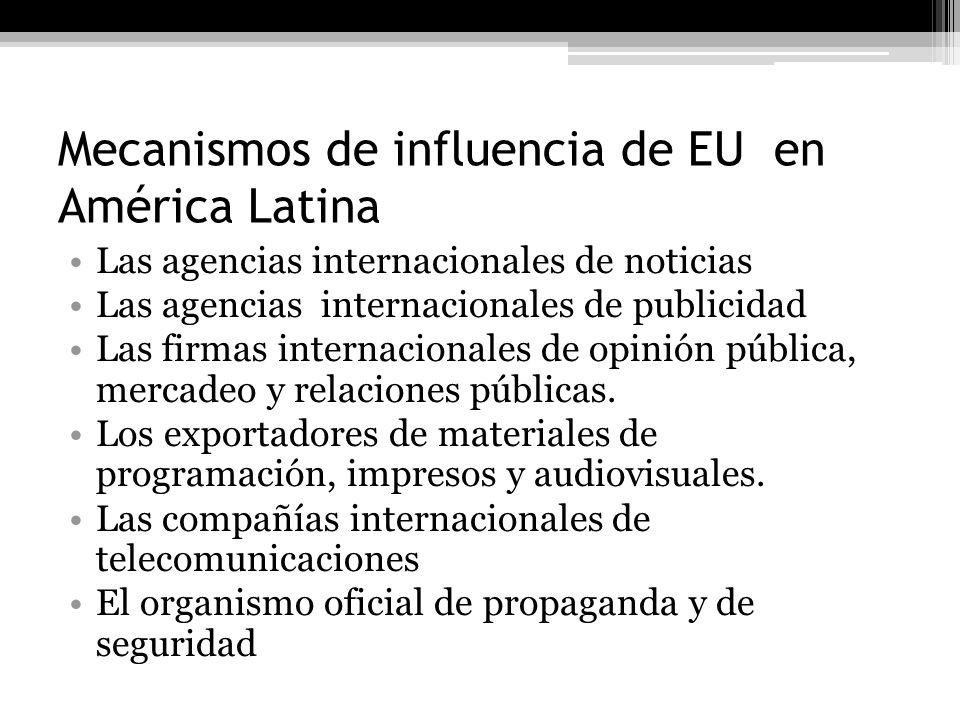 Mecanismos de influencia de EU en América Latina Las agencias internacionales de noticias Las agencias internacionales de publicidad Las firmas intern