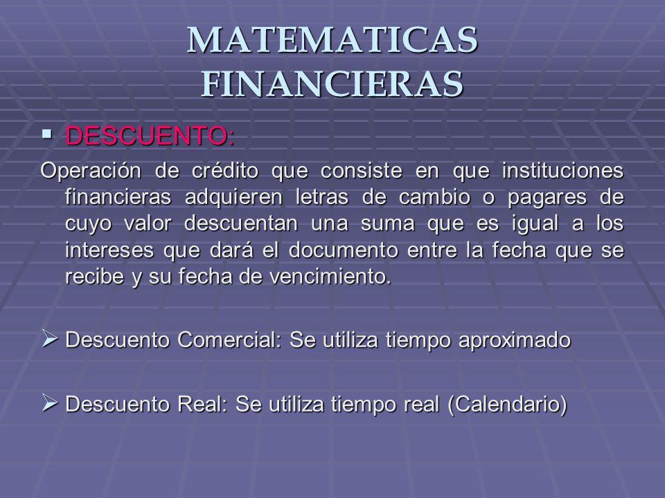 MATEMATICAS FINANCIERAS INTERES SIMPLE: INTERES SIMPLE: Operaciones a corto plazo, partiendo de un capital inicial, se trata de determinar su valor final sabiendo de antemano las condiciones en las que la operación se contrato.