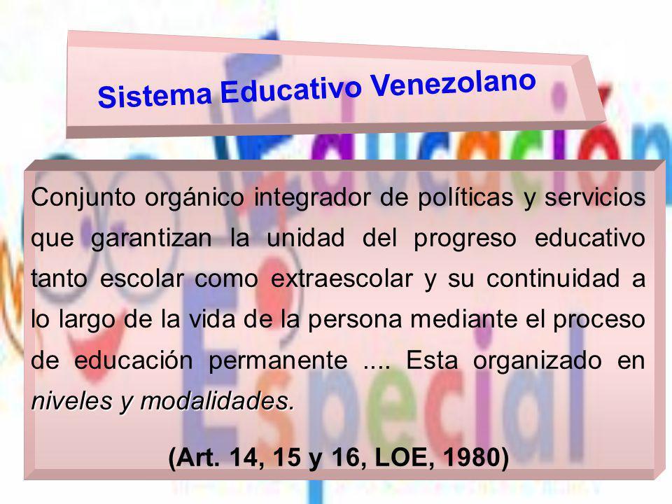 niveles y modalidades. Conjunto orgánico integrador de políticas y servicios que garantizan la unidad del progreso educativo tanto escolar como extrae