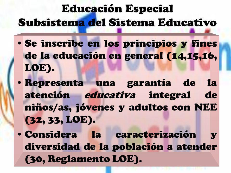 Educación Especial Subsistema del Sistema Educativo Se inscribe en los principios y fines de la educación en general (14,15,16, LOE). Representa una g