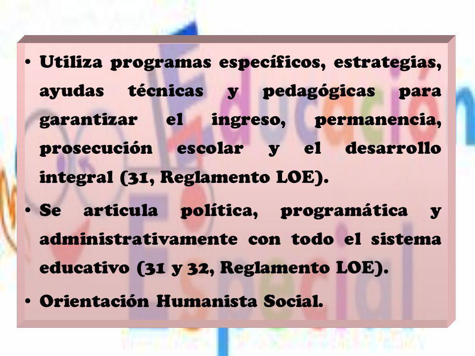 Utiliza programas específicos, estrategias, ayudas técnicas y pedagógicas para garantizar el ingreso, permanencia, prosecución escolar y el desarrollo