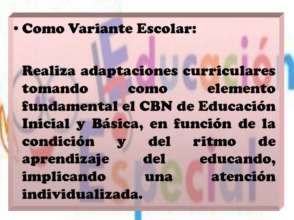 Como Variante Escolar: Realiza adaptaciones curriculares tomando como elemento fundamental el CBN de Educación Inicial y Básica, en función de la cond