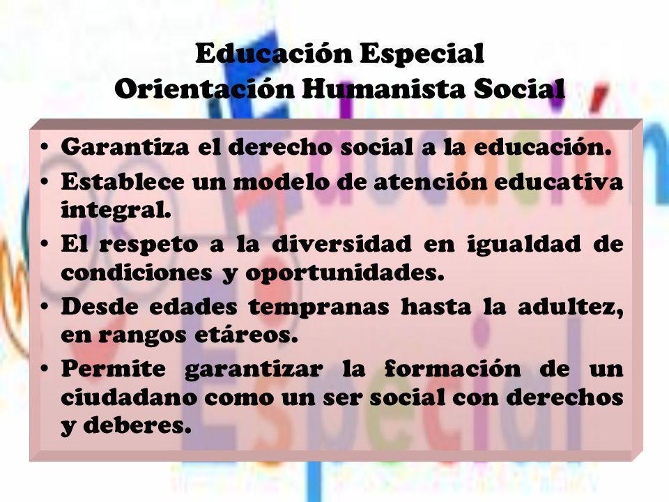 Educación Especial Orientación Humanista Social Garantiza el derecho social a la educación. Establece un modelo de atención educativa integral. El res