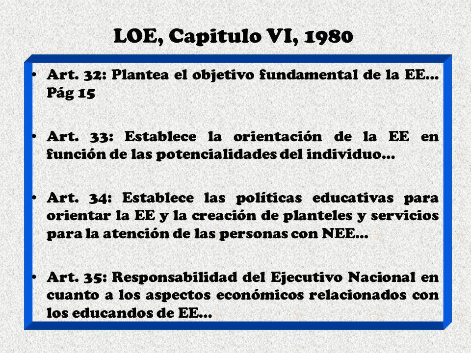LOE, Capitulo VI, 1980 Art. 32: Plantea el objetivo fundamental de la EE… Pág 15 Art. 33: Establece la orientación de la EE en función de las potencia