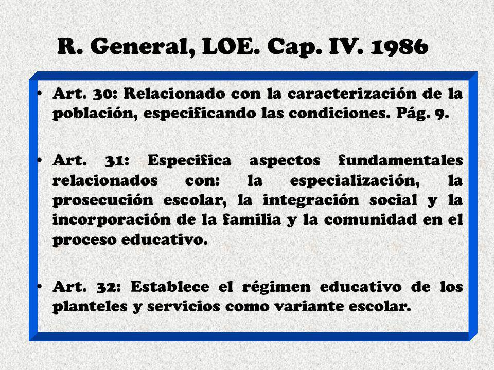 R. General, LOE. Cap. IV. 1986 Art. 30: Relacionado con la caracterización de la población, especificando las condiciones. Pág. 9. Art. 31: Especifica
