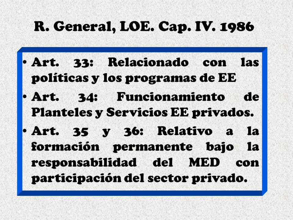 R. General, LOE. Cap. IV. 1986 Art. 33: Relacionado con las políticas y los programas de EE Art. 34: Funcionamiento de Planteles y Servicios EE privad