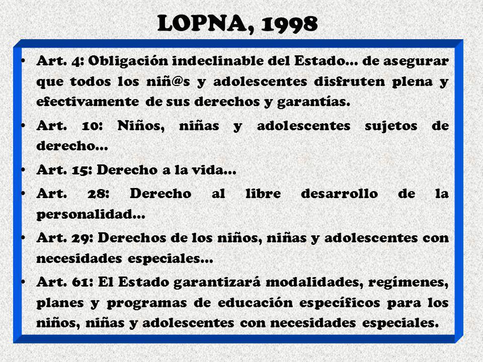 LOPNA, 1998 Art. 4: Obligación indeclinable del Estado… de asegurar que todos los niñ@s y adolescentes disfruten plena y efectivamente de sus derechos