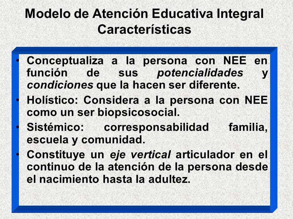 Modelo de Atención Educativa Integral Características Conceptualiza a la persona con NEE en función de sus potencialidades y condiciones que la hacen