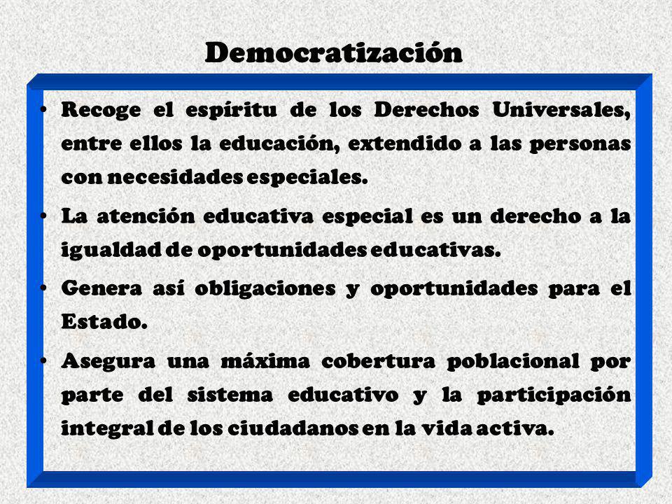 Democratización Recoge el espíritu de los Derechos Universales, entre ellos la educación, extendido a las personas con necesidades especiales. La aten
