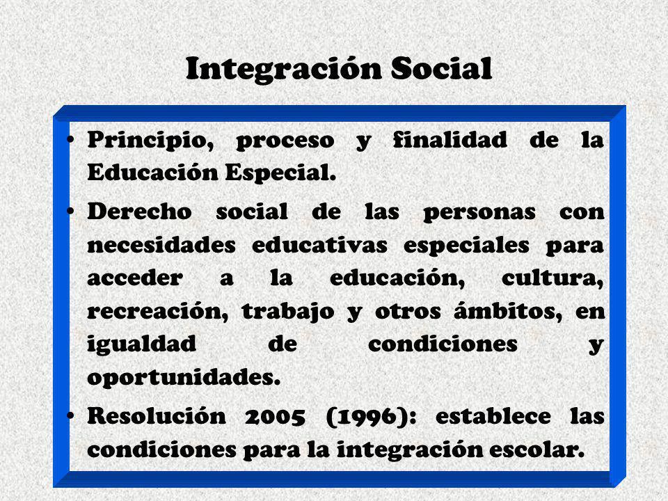 Integración Social Principio, proceso y finalidad de la Educación Especial. Derecho social de las personas con necesidades educativas especiales para