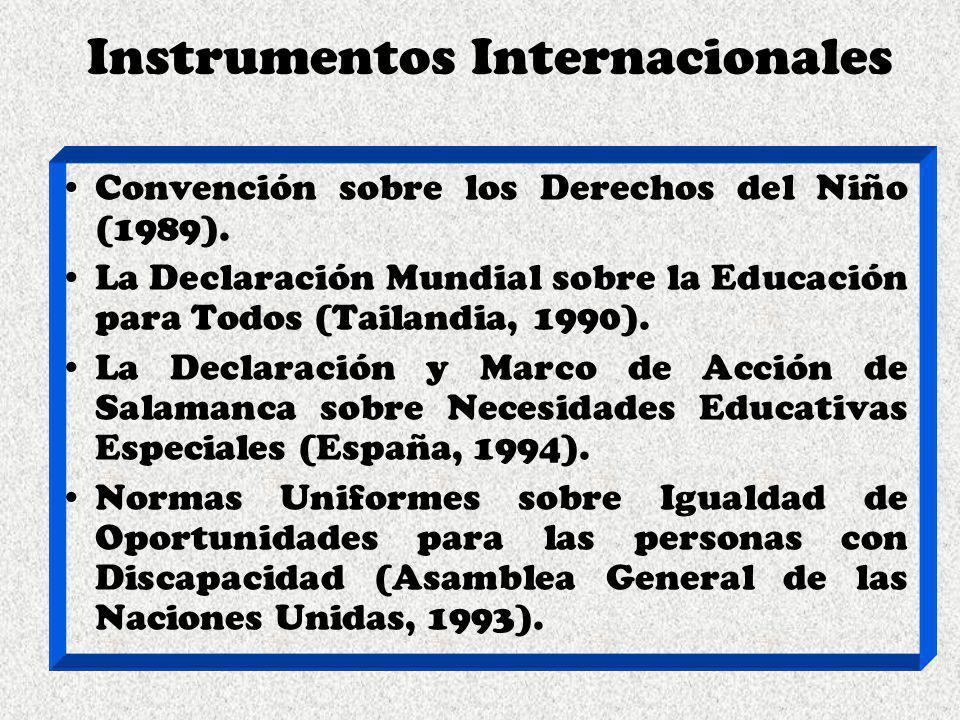 Instrumentos Internacionales Convención sobre los Derechos del Niño (1989). La Declaración Mundial sobre la Educación para Todos (Tailandia, 1990). La