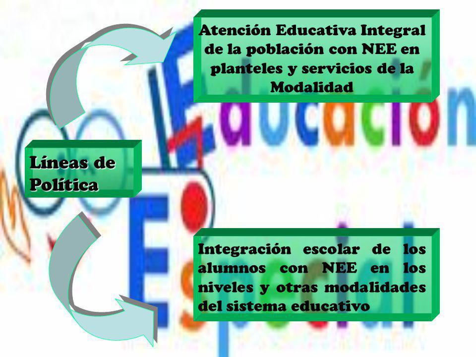 Líneas de Política Atención Educativa Integral de la población con NEE en planteles y servicios de la Modalidad Integración escolar de los alumnos con