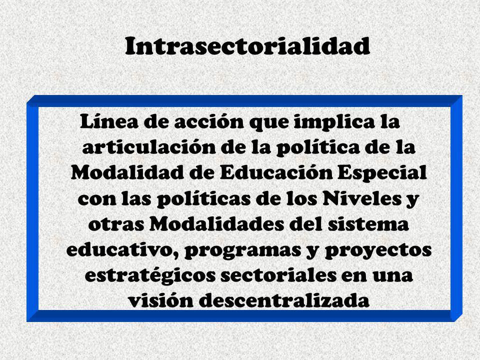 Intrasectorialidad Línea de acción que implica la articulación de la política de la Modalidad de Educación Especial con las políticas de los Niveles y