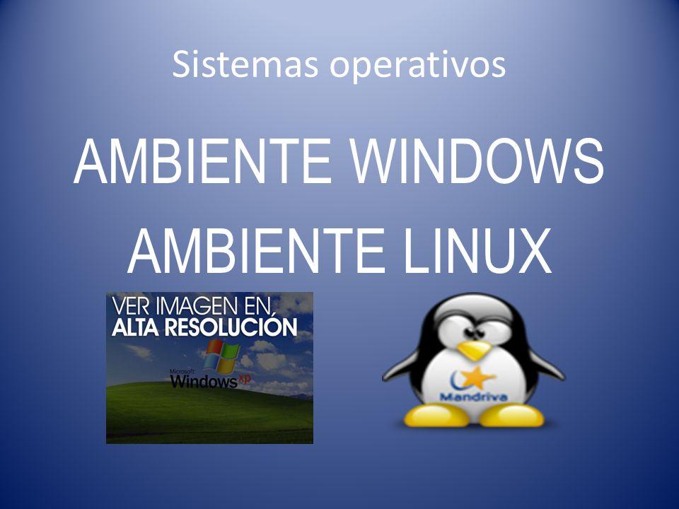 Sistemas operativos AMBIENTE WINDOWS AMBIENTE LINUX