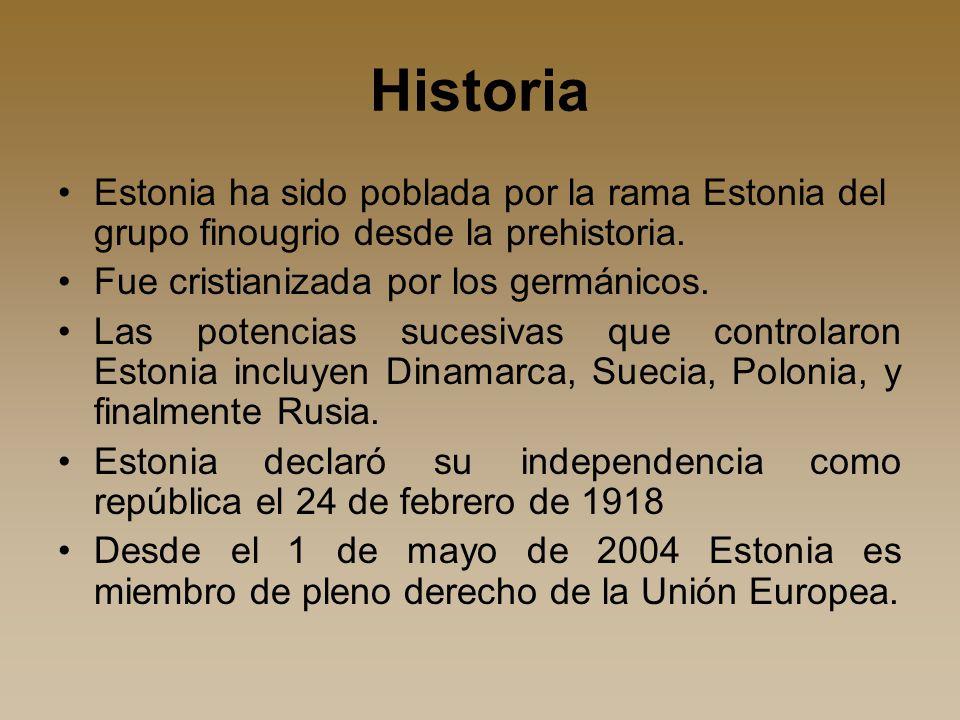 Historia Estonia ha sido poblada por la rama Estonia del grupo finougrio desde la prehistoria.