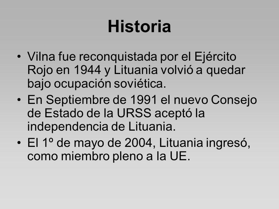 Historia Vilna fue reconquistada por el Ejército Rojo en 1944 y Lituania volvió a quedar bajo ocupación soviética.