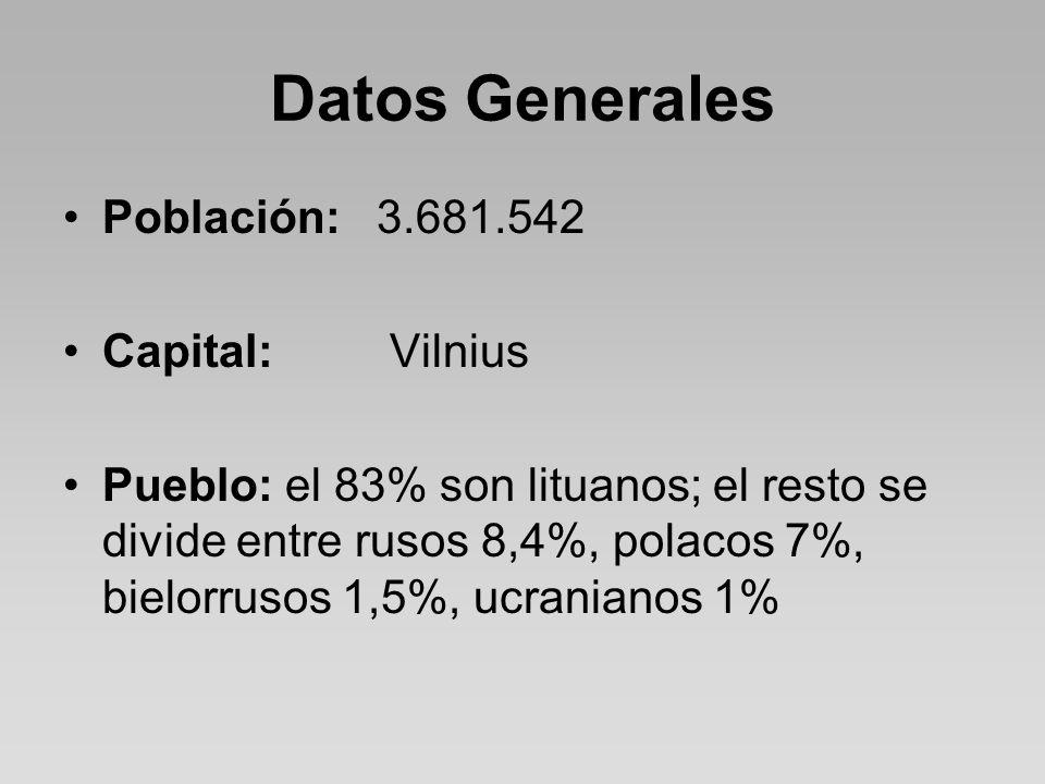 Datos Generales Población:3.681.542 Capital: Vilnius Pueblo: el 83% son lituanos; el resto se divide entre rusos 8,4%, polacos 7%, bielorrusos 1,5%, ucranianos 1%
