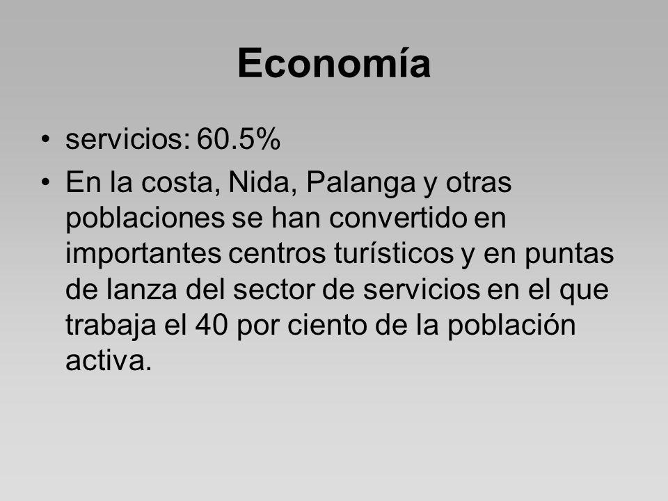Economía servicios: 60.5% En la costa, Nida, Palanga y otras poblaciones se han convertido en importantes centros turísticos y en puntas de lanza del sector de servicios en el que trabaja el 40 por ciento de la población activa.