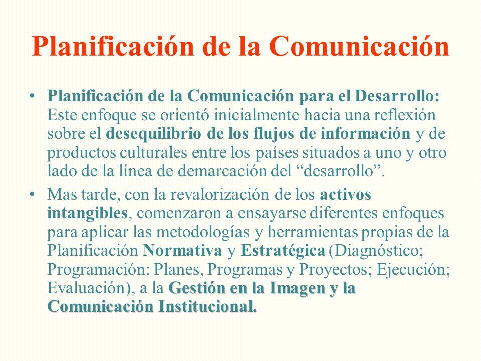 Planificación de la Comunicación Planificación de la Comunicación para el Desarrollo: Este enfoque se orientó inicialmente hacia una reflexión sobre e