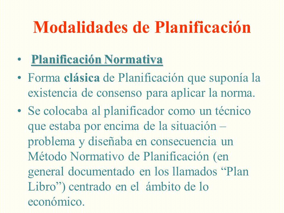 Modalidades de Planificación Planificación Normativa Forma clásica de Planificación que suponía la existencia de consenso para aplicar la norma. Se co