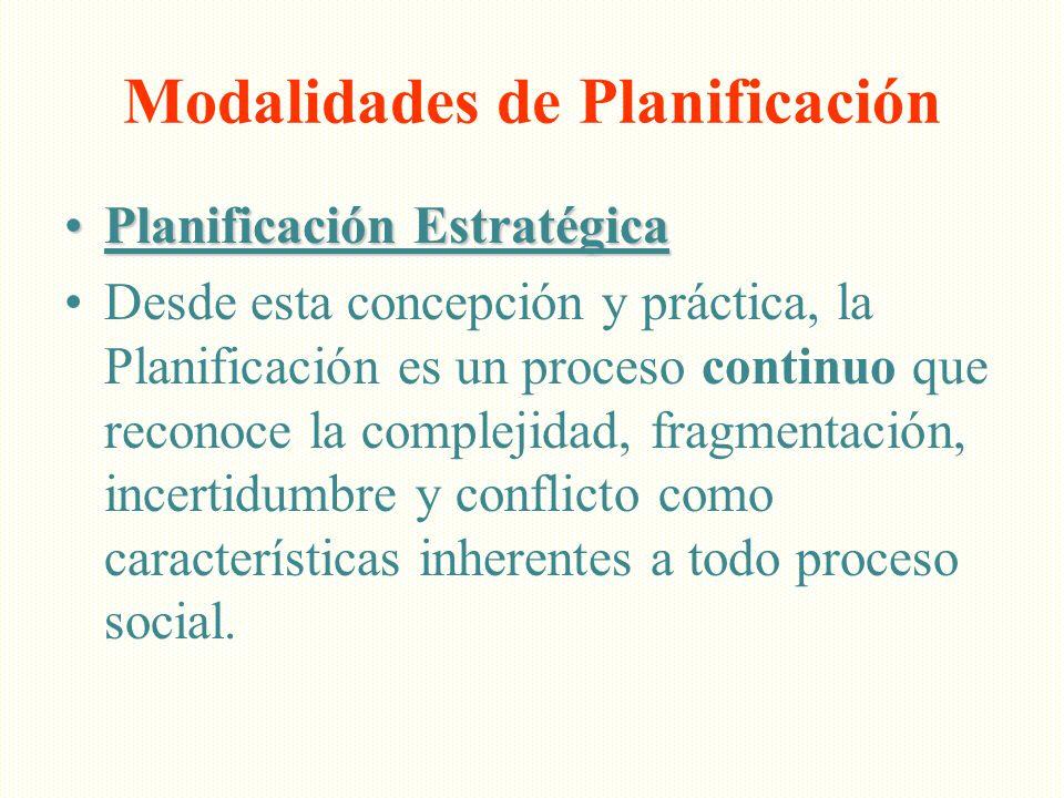 Planificación EstratégicaPlanificación Estratégica Desde esta concepción y práctica, la Planificación es un proceso continuo que reconoce la complejid
