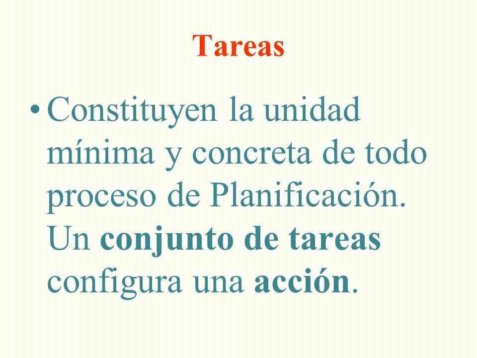 Tareas Constituyen la unidad mínima y concreta de todo proceso de Planificación. Un conjunto de tareas configura una acción.