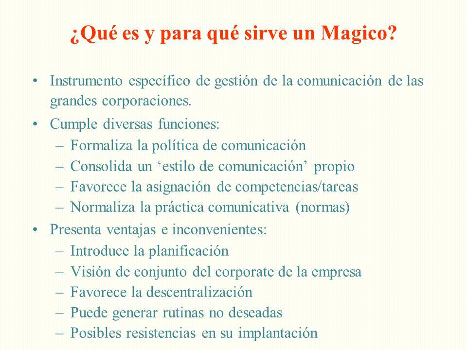 ¿Qué es y para qué sirve un Magico? Instrumento específico de gestión de la comunicación de las grandes corporaciones. Cumple diversas funciones: –For