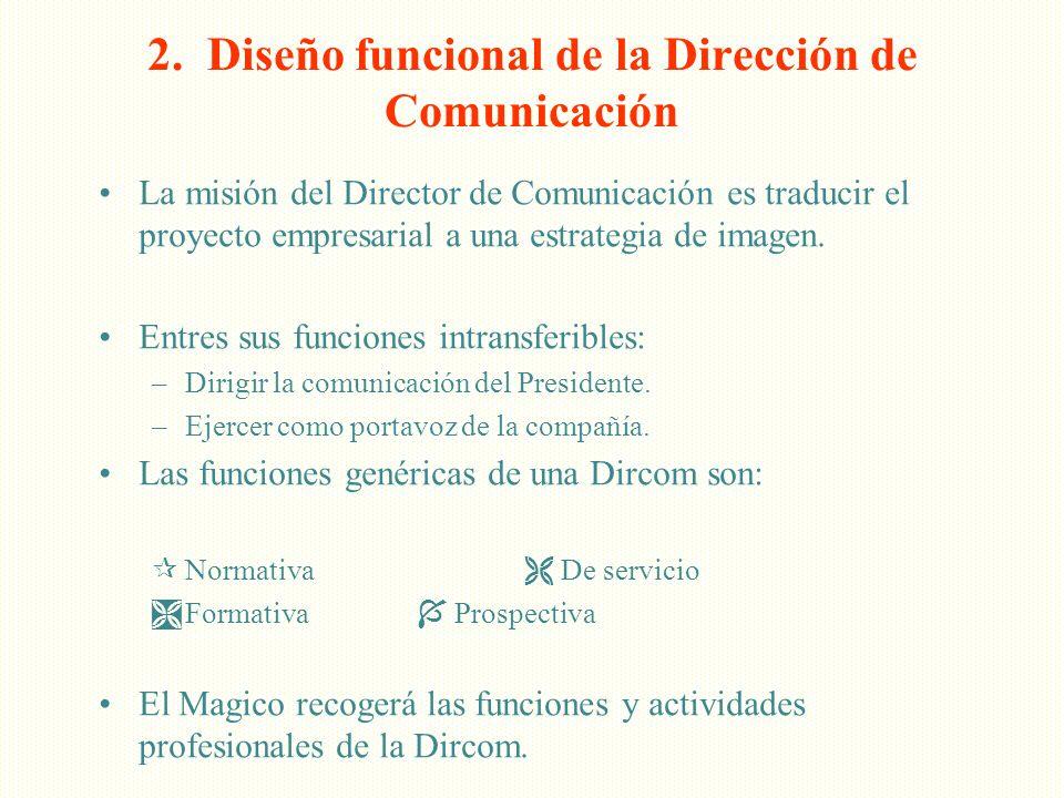 2. Diseño funcional de la Dirección de Comunicación La misión del Director de Comunicación es traducir el proyecto empresarial a una estrategia de ima