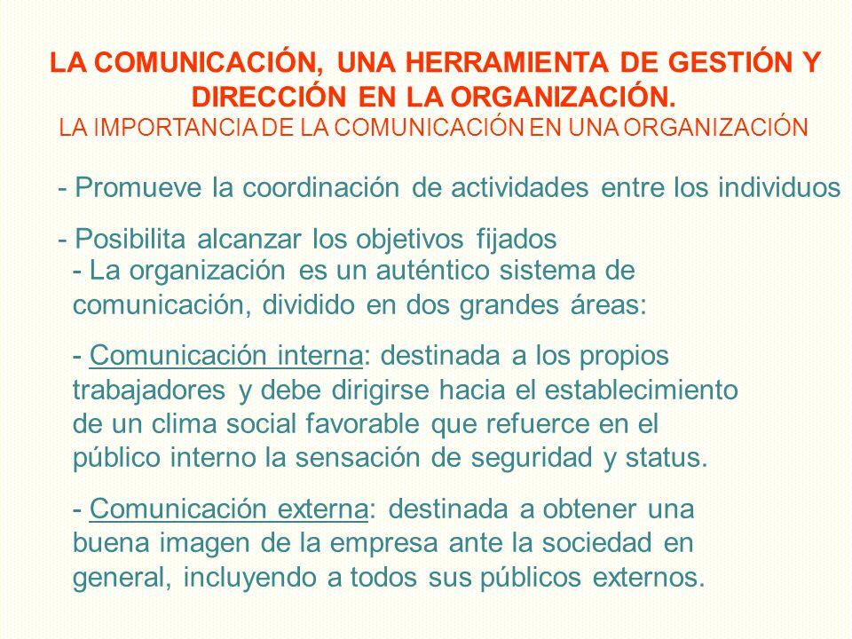 LA COMUNICACIÓN, UNA HERRAMIENTA DE GESTIÓN Y DIRECCIÓN EN LA ORGANIZACIÓN. LA IMPORTANCIA DE LA COMUNICACIÓN EN UNA ORGANIZACIÓN - Promueve la coordi