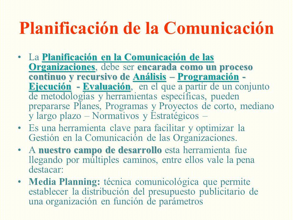 Planificación de la Comunicación Planificación en la Comunicación de las Organizacionesencarada como un proceso continuo y recursivo de Análisis – Pro