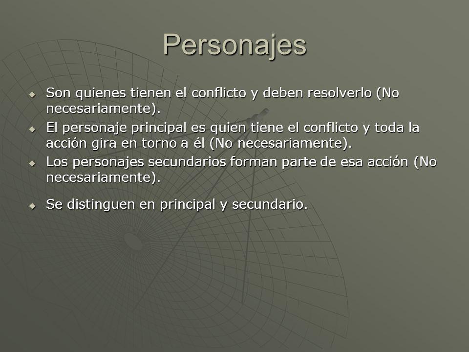 Personajes Son quienes tienen el conflicto y deben resolverlo (No necesariamente). Son quienes tienen el conflicto y deben resolverlo (No necesariamen