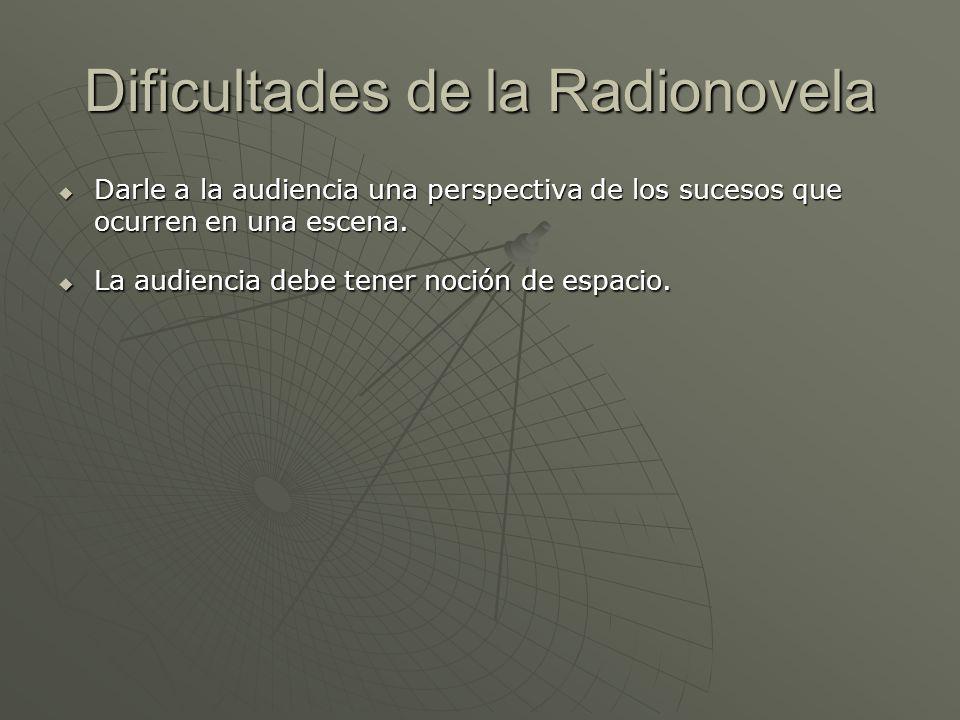 Dificultades de la Radionovela Darle a la audiencia una perspectiva de los sucesos que ocurren en una escena. Darle a la audiencia una perspectiva de