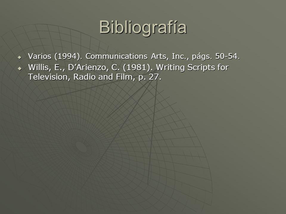 Bibliografía Varios (1994). Communications Arts, Inc., págs. 50-54. Varios (1994). Communications Arts, Inc., págs. 50-54. Willis, E., DArienzo, C. (1