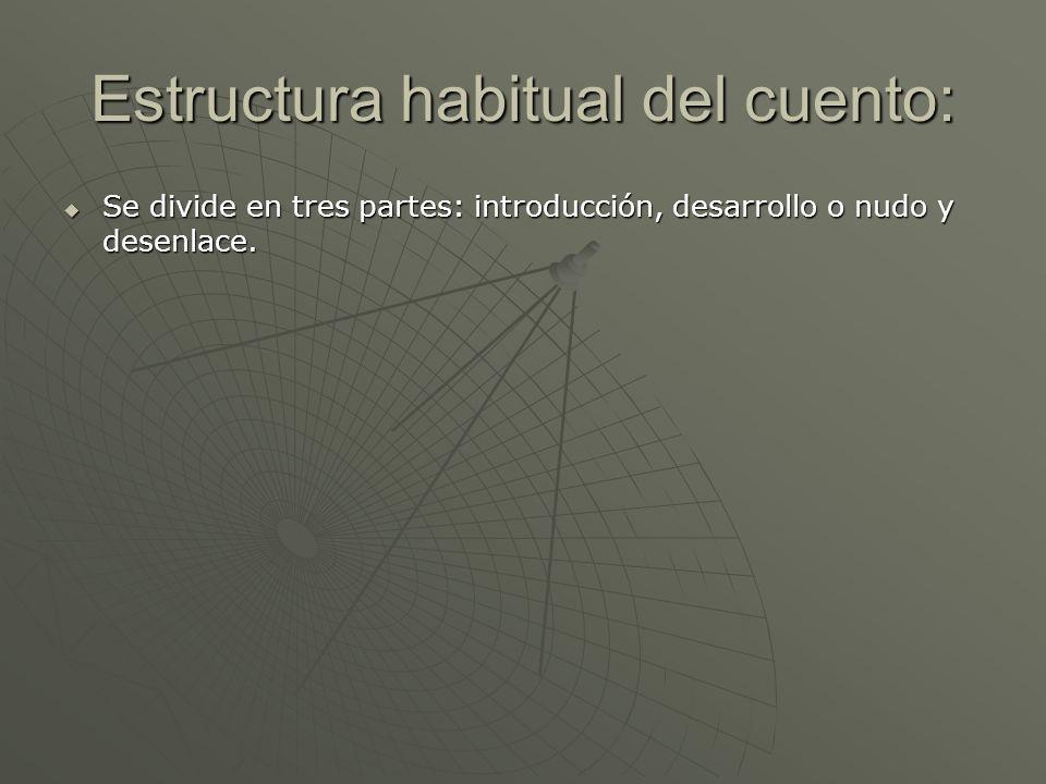 Estructura habitual del cuento: Se divide en tres partes: introducción, desarrollo o nudo y desenlace. Se divide en tres partes: introducción, desarro
