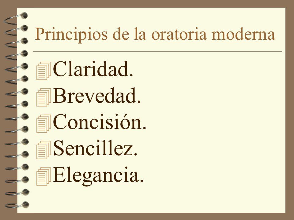 Principios de la oratoria moderna 4 Claridad. 4 Brevedad. 4 Concisión. 4 Sencillez. 4 Elegancia.